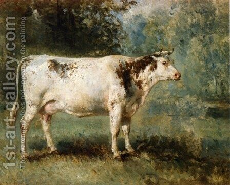 A Cow in a Landscape by Constant Troyon - Reproduction Oil Painting