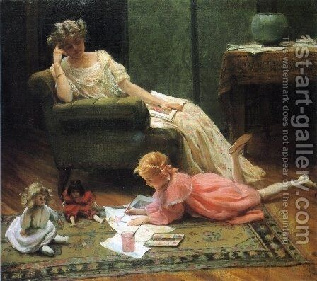 Dolly's Portrait by Charles Curran - Reproduction Oil Painting