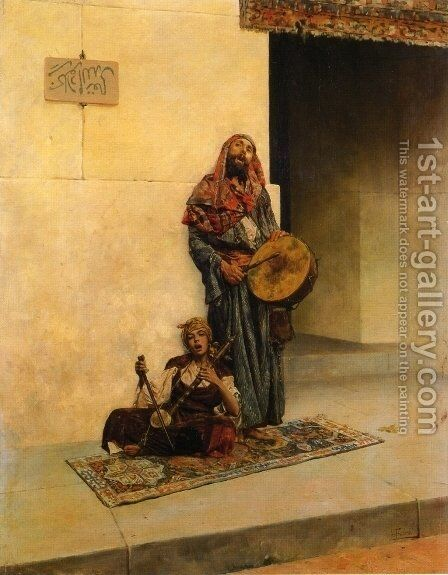 Street Musicians in a Middle Eastern Town by Antonio Maria Fabres Y Costa - Reproduction Oil Painting