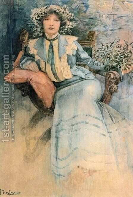 Mistletoe: Portrait of Mme. Mucha by Alphonse Maria Mucha - Reproduction Oil Painting