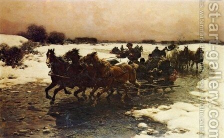Before the Hunt by Alfred Wierusz-Kowalski - Reproduction Oil Painting