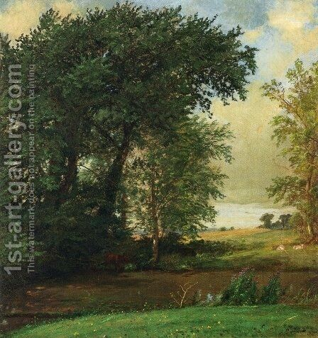 Banks of the River by Jasper Francis Cropsey - Reproduction Oil Painting