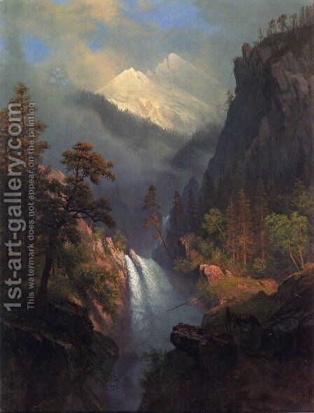 Cascading Falls at Sunset by Albert Bierstadt - Reproduction Oil Painting