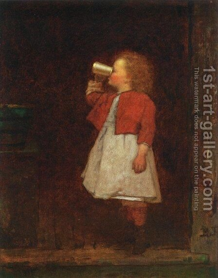 Little Girl with Red Jacket Drinking from Mug by Eastman Johnson - Reproduction Oil Painting
