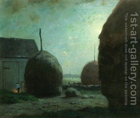 Newbury Haystacks in Moonlight by Dwight William Tryon - Reproduction Oil Painting