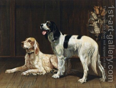 A Pair of Setters by Alexander Pope - Reproduction Oil Painting