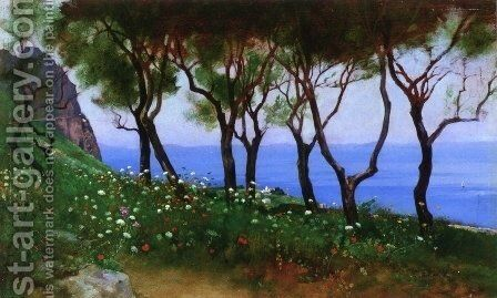 Cesina Landscape: Study for 'Twilight and Poppies by Charles Caryl Coleman - Reproduction Oil Painting