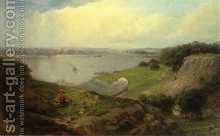 View from New Jersey Looking Towards Downtown New York by Andrew Melrose - Reproduction Oil Painting