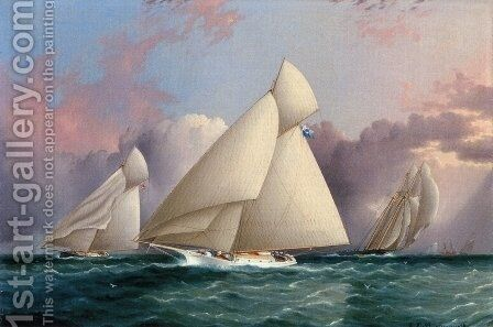 Yacht 'Sappho' Beating to the Wind by James E. Buttersworth - Reproduction Oil Painting