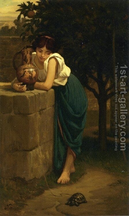 Etruscan Girl with Turtle by Elihu Vedder - Reproduction Oil Painting