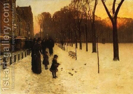 Boston Common at Twilight by Frederick Childe Hassam - Reproduction Oil Painting