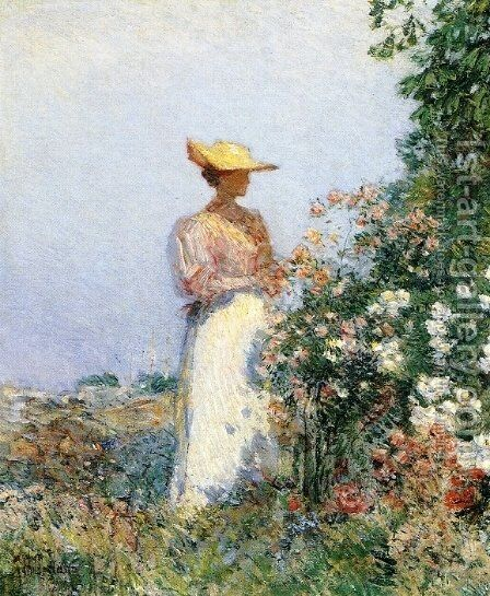 Lady in Flower Garden by Frederick Childe Hassam - Reproduction Oil Painting