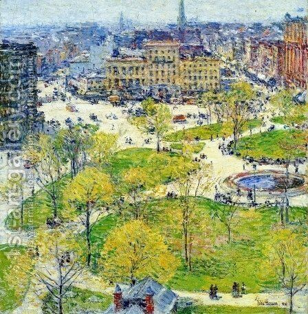 Union Square in Spring by Frederick Childe Hassam - Reproduction Oil Painting