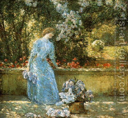 Lady in the Park by Frederick Childe Hassam - Reproduction Oil Painting