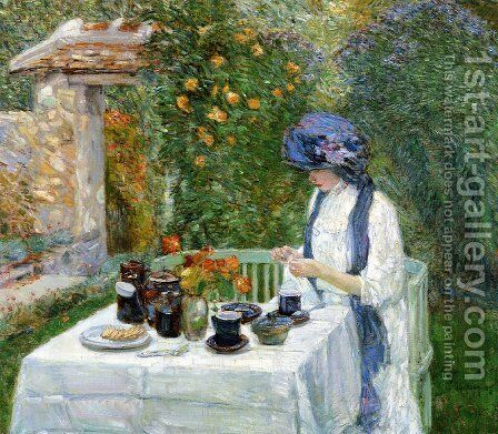 The Terre-Cuite Tea Set by Frederick Childe Hassam - Reproduction Oil Painting