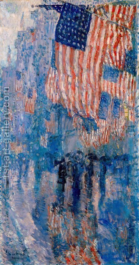 The Avenue in the Rain by Frederick Childe Hassam - Reproduction Oil Painting