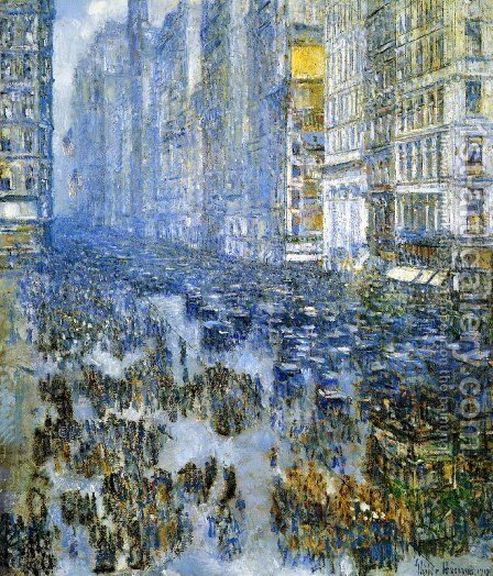 Fifth Avenue in Winter I by Frederick Childe Hassam - Reproduction Oil Painting