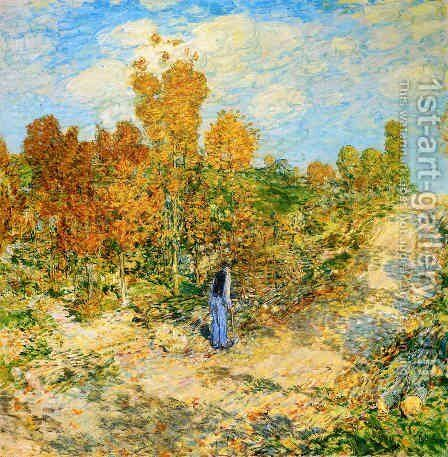 New England Road by Frederick Childe Hassam - Reproduction Oil Painting