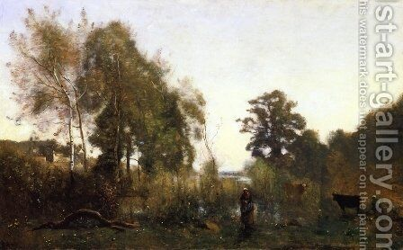 The Ponds of Ville d'Avray by Jean-Baptiste-Camille Corot - Reproduction Oil Painting