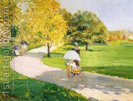 Nurses in the Park by Frederick Childe Hassam - Reproduction Oil Painting