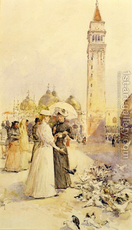 Feeding Pigeons in the Piazza by Frederick Childe Hassam - Reproduction Oil Painting