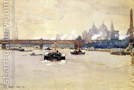 View of the Thames by Frederick Childe Hassam - Reproduction Oil Painting