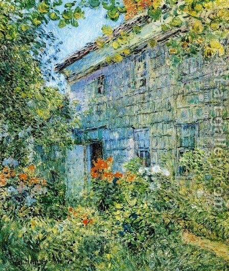 Old House and Garden, East Hampton by Frederick Childe Hassam - Reproduction Oil Painting