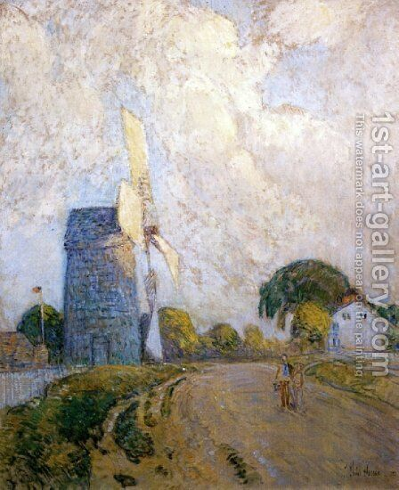 Windmill at Sundown, East Hampton by Frederick Childe Hassam - Reproduction Oil Painting