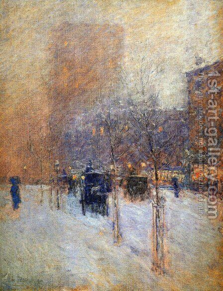 Late Afternoon, New York: Winter by Frederick Childe Hassam - Reproduction Oil Painting