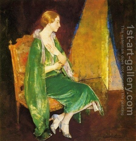 Woman in Green by Charles Hawthorne - Reproduction Oil Painting