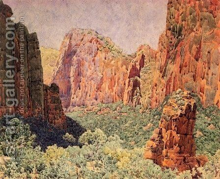 Temple of Sinawava - Zion National park by Gunnar Mauritz Widforss - Reproduction Oil Painting