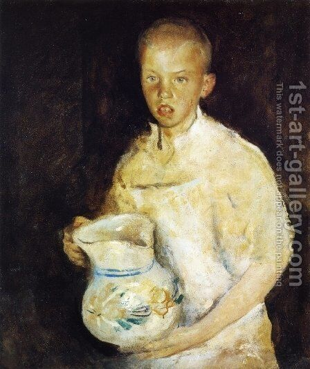 Boy with Pitcher by Charles Hawthorne - Reproduction Oil Painting