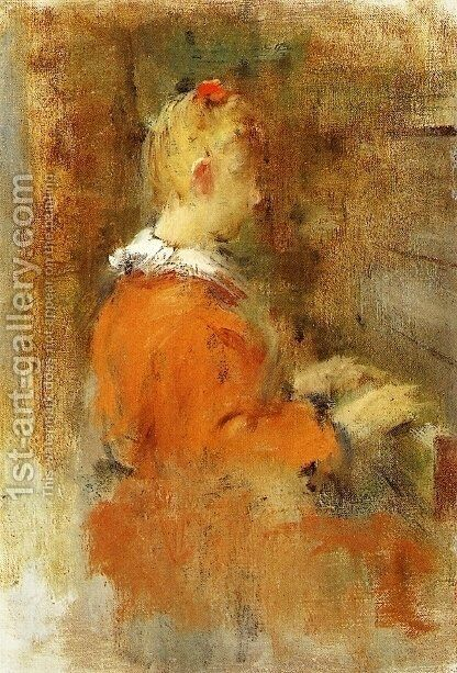 Girl in Red at the Piano by Theodore Robinson - Reproduction Oil Painting