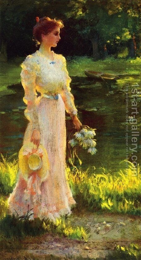 By the Lily Pond by Charles Curran - Reproduction Oil Painting