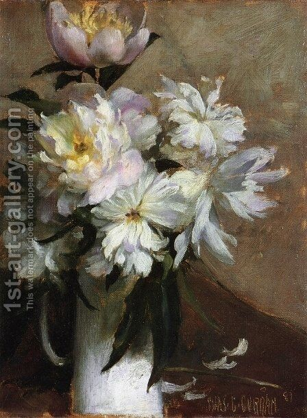 Peonies I by Charles Curran - Reproduction Oil Painting
