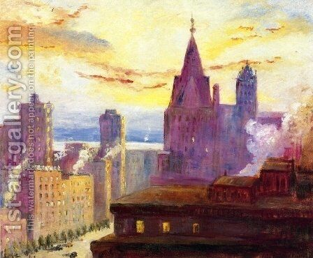 Rooftops at Sunset by Colin Campbell Cooper - Reproduction Oil Painting