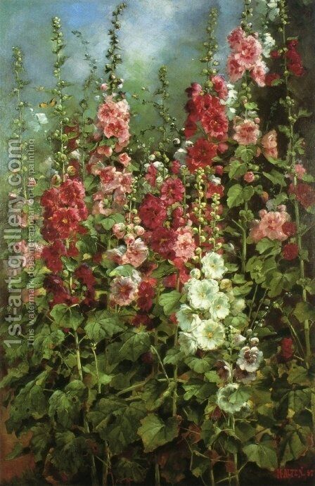 Hollyhocks by Mathias (Joseph) Alten - Reproduction Oil Painting