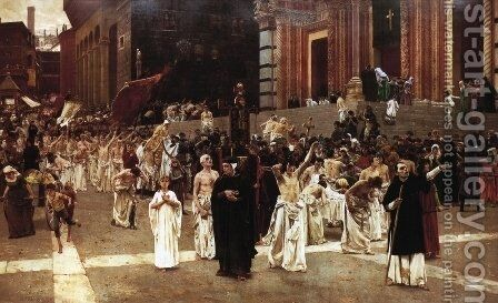 The Flagellants by Carl von Marr - Reproduction Oil Painting