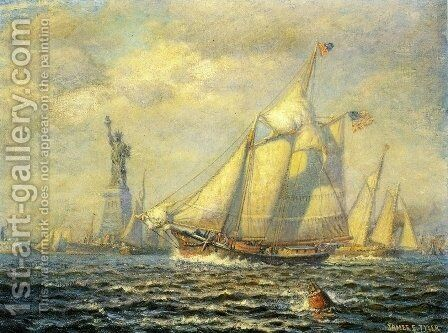New York Harbor by James Gale Tyler - Reproduction Oil Painting