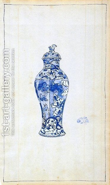 Blue and White Covered Urn by James Abbott McNeill Whistler - Reproduction Oil Painting