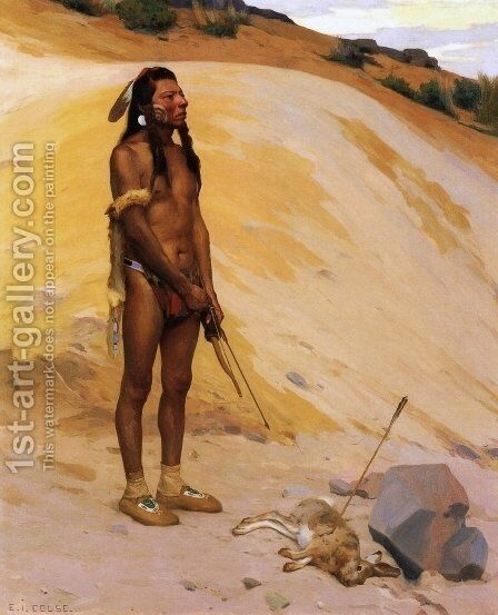 An Indian Hunter by Eanger Irving Couse - Reproduction Oil Painting