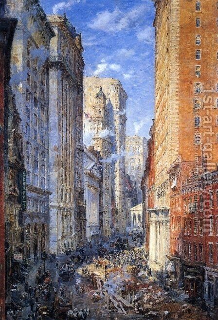 Broad Street Canyon, New York by Colin Campbell Cooper - Reproduction Oil Painting