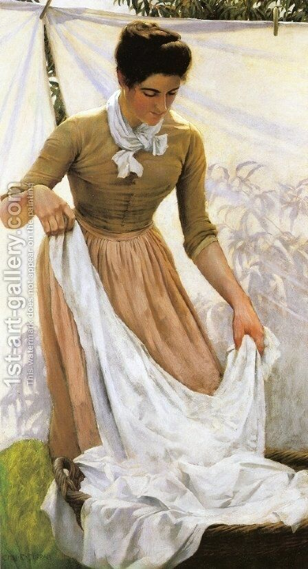 Hanging out Linen by Charles Curran - Reproduction Oil Painting