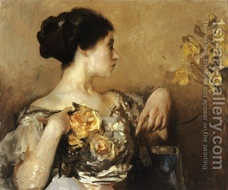 Lady with a Corsage by Edmund Charles Tarbell - Reproduction Oil Painting