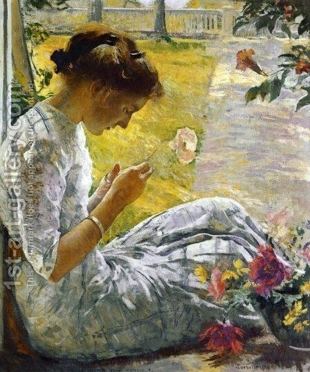 Mercie Cutting Flowers by Edmund Charles Tarbell - Reproduction Oil Painting