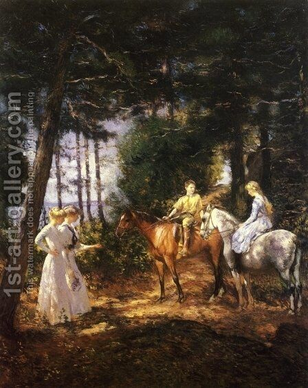 My Children in the Woods by Edmund Charles Tarbell - Reproduction Oil Painting