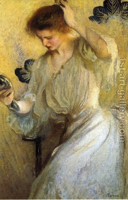 The Mirror by Edmund Charles Tarbell - Reproduction Oil Painting