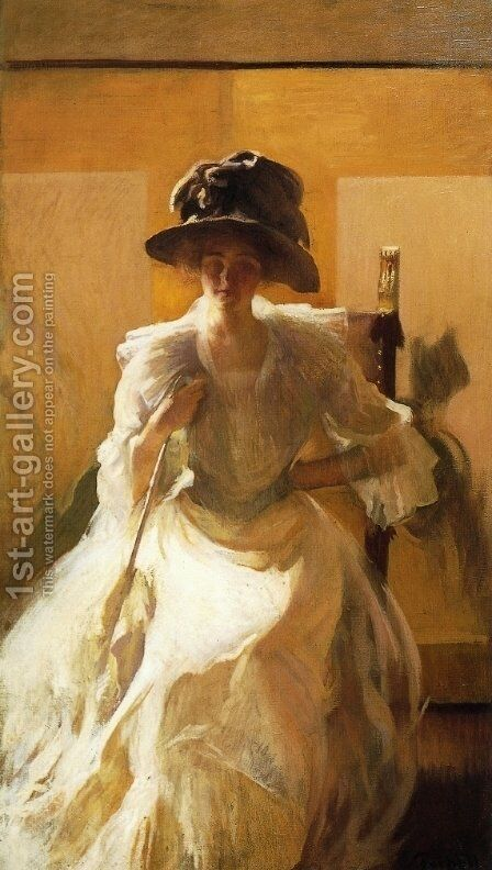 The Golden Screen by Edmund Charles Tarbell - Reproduction Oil Painting