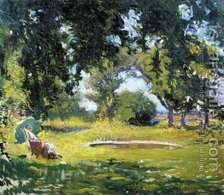 Seated Woman by a Pond by Edmund Charles Tarbell - Reproduction Oil Painting