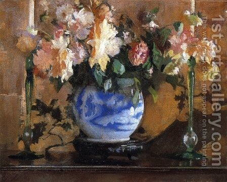 Flowers in a Blue Ginger Jar by Edmund Charles Tarbell - Reproduction Oil Painting